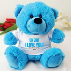 Love You Naughty Valentines Bear - Blue