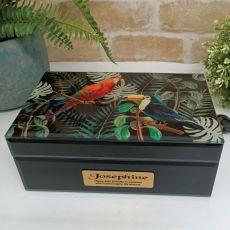 60th Birthday Black Glass Personalised Trinket Box - Birds