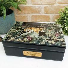21st Birthday Large Glass Personalised Trinket Box - Tiger