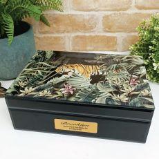 Baptism Large Glass Personalised Trinket Box - Tiger