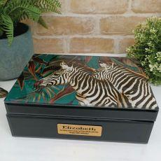 80th Birthday Large Glass Personalised Trinket Box - Zebra