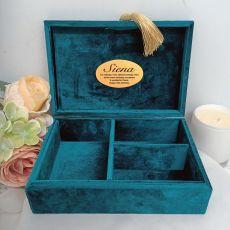 16th Personalised Jewel Box Teal Velvet