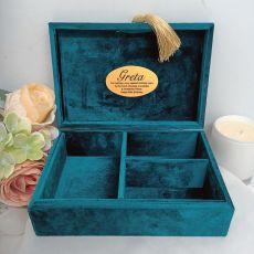 80th Personalised Jewel Box Teal Velvet