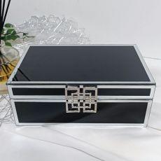 Black Glass Jewel Box w/Silver Edge