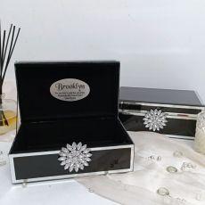 Flower Girl Black & Mirror Brooch Jewel Box