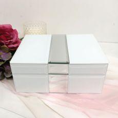 Silver & White Mirror Jewel Box