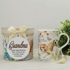 Grandma Mug with Personalised Gift Box Puppy Dog