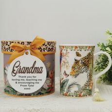 Grandma Mug with Personalised Gift Box Leopard