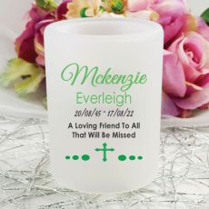 Personalised Tea Light Candle Holder - Memorial Cross