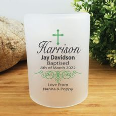 Personalised Baptism Tea Light Candle Holder - Cross