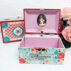 Christening Rose Garden Music Jewelley Box