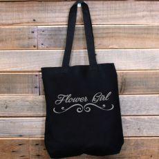 Flower Girl Black Tote Bag Glitter Print