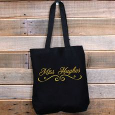 Personalised Teacher Tote Bag Glittered Print
