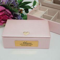 Mum Pink Heart Personalised Jewel Box
