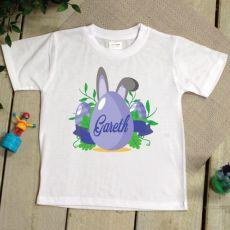 Kids Easter T Shirt - 2-6 Years - Blue Egg