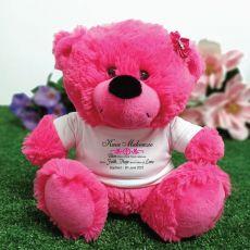 Personalised Baptism Teddy Bear Hot Pink Plush