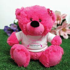 Personalised 80th Birthday Bear Hot Pink Plush