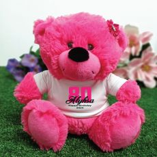 80th Birthday Personalised Teddy Bear Hot Pink Plush