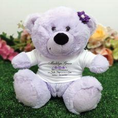 Baptism Lavender Teddy Bear with Verse