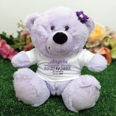 Personalised Baby Birth Details Teddy Bear Lavender