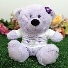 Personalised Naming Day Bear Gift - Lavender