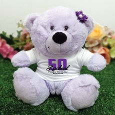 50th Birthday Personalised Teddy Bear Lavender Plush