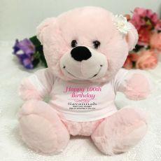 Personalised 100th Birthday Bear Light Pink Plush