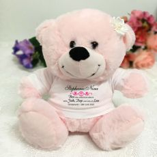 Christening Personalised Teddy Bear Pink Plush