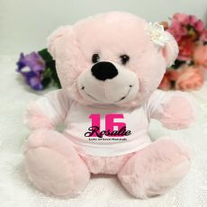 16th Birthday Personalised Teddy Bear Light Pink Plush