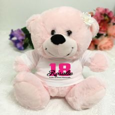 18th Birthday Personalised Teddy Bear Light Pink Plush