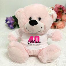 40th Birthday Personalised Teddy Bear Light Pink Plush