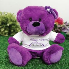 Personalised 100th Birthday Bear Purple Plush