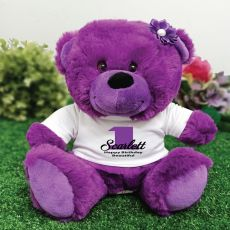 Personalised  1st Birthday Teddy Bear Plush Purple
