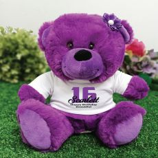 Personalised 16th Birthday Teddy Bear Plush Purple