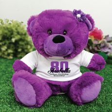 Personalised 80th Birthday Teddy Bear Plush Purple