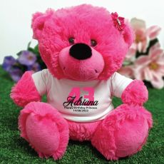 Personalised Birthday Teddy Bear Hot Pink Plush