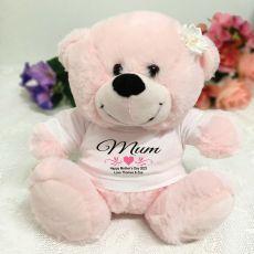 Mum Personalised Teddy Bear Light Pink