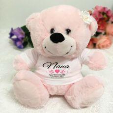 Nana Personalised Teddy Bear  Light Pink