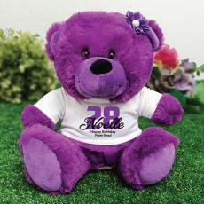 Personalised Birthday Teddy Bear Plush Purple