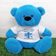 Christening Personalised T-Shirt Bear 40cm  Bright Blue