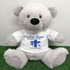 Baptism Personalised T-Shirt Bear 40cm Grey