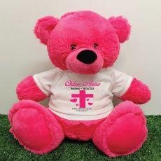 Baptism Personalised T-Shirt Bear 40cm Hot Pink