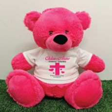 Christening Personalised T-Shirt Bear 40cm Hot pink