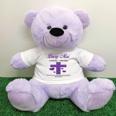 Christening Personalised T-Shirt Bear 40cm Lavender