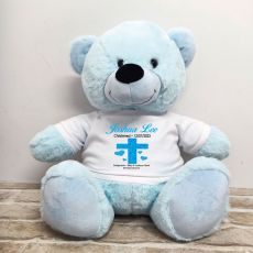 Christening Personalised T-Shirt Bear 40cm Light Blue