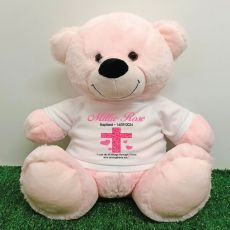 Baptism Personalised T-Shirt Bear 40cm Light Pink