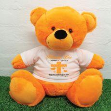 Christening Personalised T-Shirt Bear 40cm Orange