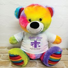 Christening Personalised T-Shirt Bear 40cm Rainbow