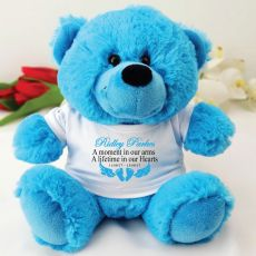 Personalised Baby Memorial Teddy Bear - Bright Blue