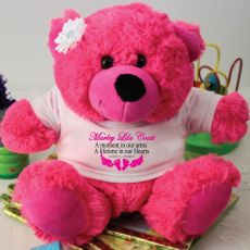 Personalised Baby Memorial Teddy Bear -Hot Pink